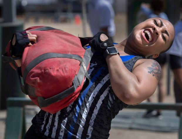 Mission Viejo Sheriff deputy Olivia Coco takes part in the Orange County Sheriff's women's fitness challenge, a Crossfit-style competition in Tustin in April.Photo by Mindy Schauer, Orange County Register/SCNG