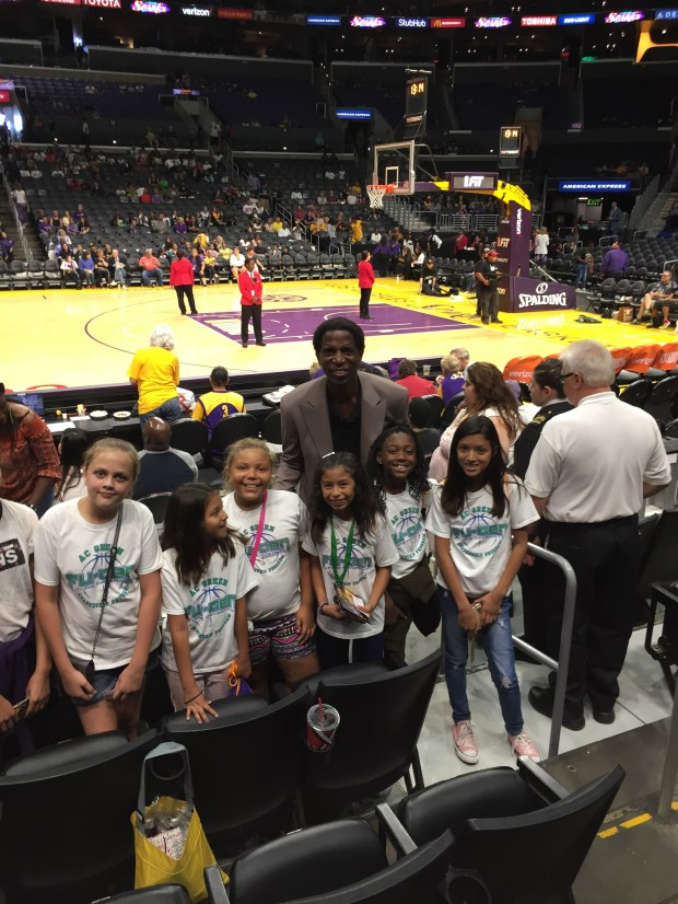 Retired NBA All-Star A. C. Green recently gave the VIP treatment to a group of kids from the Old Towne Boys & Girls Club in Orange. Green took the kids to a WNBA Sparks game at the Staples Center, with courtside access and seats. (Courtesy of the Old Towne Boys & Girls Club)