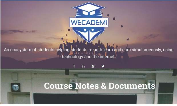 The Wecademi website allows students to find tutors, subscribe to a notes service or arrange to buy used textbooks.