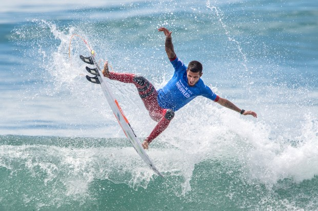 Filipe Toledo of Brazil gets some air as he surfs his way to defeating Jordy Smith of South Africa in the final of the Hurley Pro at Trestles held at San Onofre State Beach on Friday, August 15, 2017.(Photo by Mark Rightmire,Orange County Register/SCNG)