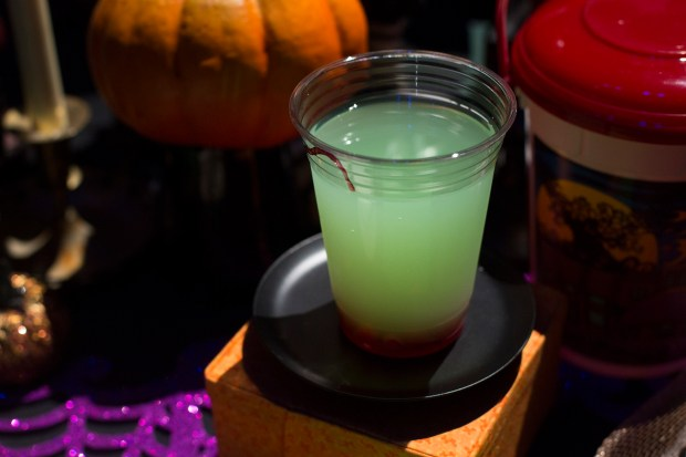The Green Apple Spell Lemonade features cherry drops and is available Smokejumpers Grill inside Disney California Adventure on Friday, September 15, 2017. (Photo by Drew A. Kelley, Contributing Photographer)