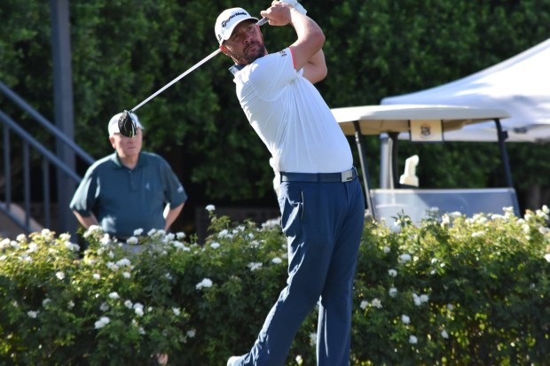 Aliso Viejo's Michael Block watches this tee shot during the 93rd Southern California PGA Professional Championship, Sept. 11-13, at  Bermuda Dunes Country Club. Photo courtesy of Southern California Professional Golf Association