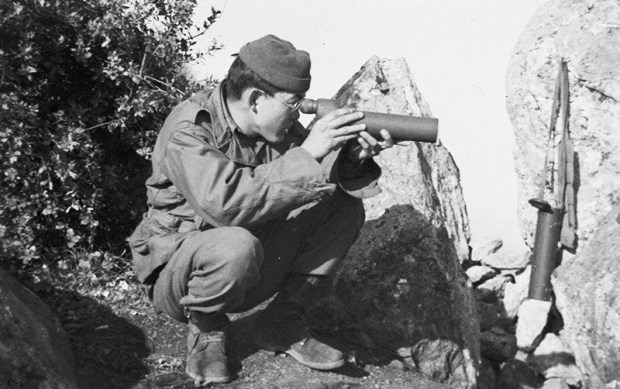 A photograph from the Susumu Ito collection shows George Miyake in the Maritime Alps near Nice, France, in 1944.Photo courtesy of Cal State Fullerton