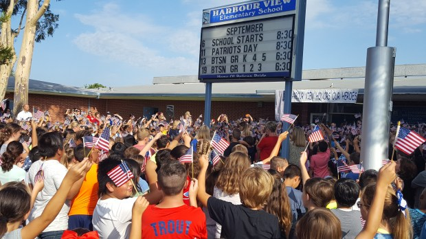 Hundreds of students and their families showed their patriotic spirit at Harbour View Elementary's annual celebration of American heroes on September 11. (Photo courtesy Ocean View School District)