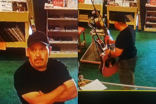 This man, whose image was captured on surveillance video, allegedly distracted an employee and stole a Martin guitar on Wednesday, Sept. 20, 2017, from the Guitar Merchant on Topanga Canyon Boulevard in Canoga Park. There have also been two break-ins at the store in the past three months. (Image from surveillance video courtesy of the Guitar Merchant)