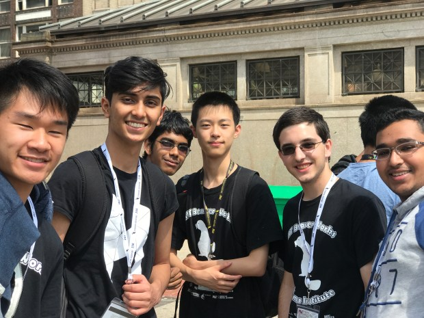 Matthew Tang, far left, takes a photo with fellow participants of the 2017 MIT Beaver Works Summer Institute engineering program during a weekend excursion. (Courtesy of Matthew Tang)