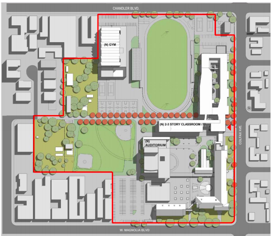 Layout for upgrades to North Hollywood High School.