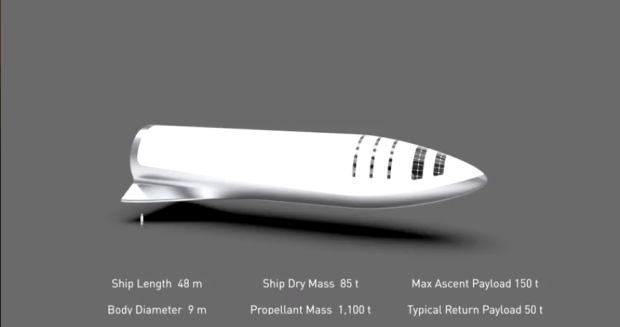 "Artist's rendering of Elon Musk's ""BFR"" rocket. (Image courtesy SpaceX)"