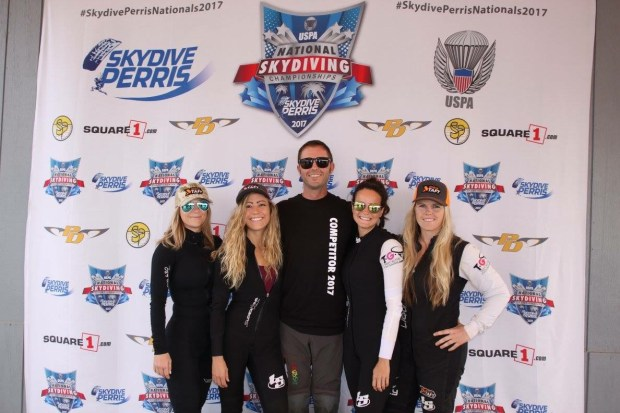 Shyama Rose, Lauren Christine, Tyler Stolzenburg, Claudia Blank and Katie Lively made up the Taft Glitter Tornadoes team that took fourth place in the Skydiving Nationals in their category Sept. 16 – Oct. 1 in Perris. (Photo courtesy Tyler Stolzenburg)