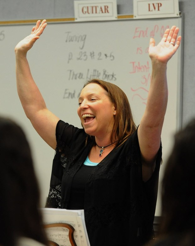Andrea Calvo teaches theater, choir, guitar, and rock band at Ladera Vista Junior High School of the Arts. (Photo by Ana Venegas, Orange County Register/SCNG)