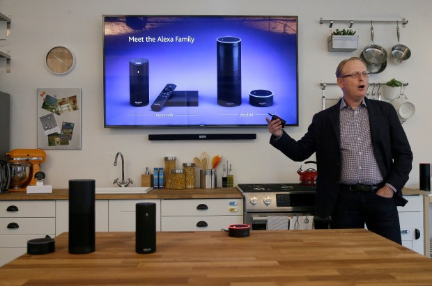 David Limp with Amazon speaks about Alexa family devices in San Francisco. (AP Photo/Jeff Chiu)