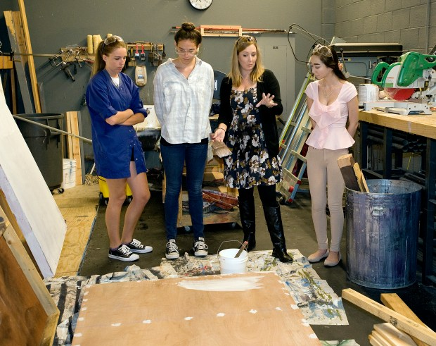 Cambria Beilstein, second from right, teaches theater arts at San Juan Hills High School. (Photo by Nick Koon, Orange County Register/SCNG)