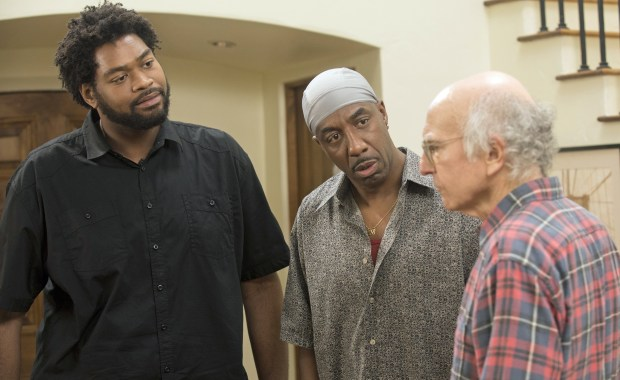 "Dean Sharpe, J.B. Smoove, Larry David on HBO's ""Curb Your enthusiasm."""