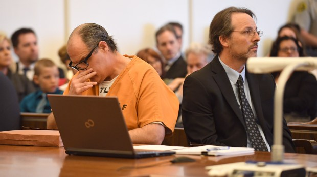 Scott Dekraai, left, Orange County's worst mass killer, reacts to testimony from the victim's families during his sentencing. (Photo by Mark Rightmire, Orange County Register/SCNG)