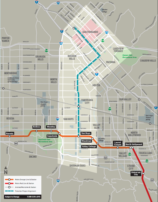 The East San Fernando Valley Transit Corridor would connect San Fernando with the Orange Line in Van Nuys. (Metro)