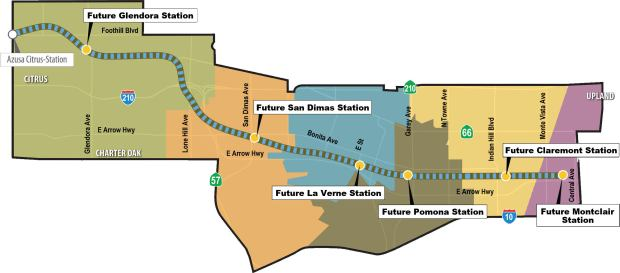The 12.3-mile extension of the Gold Line would run through six cities.