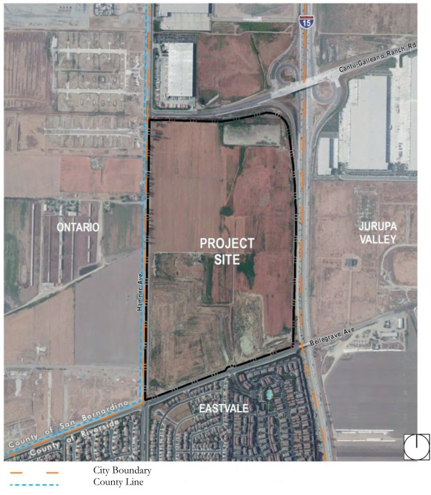 The Goodman Commerce Center was approved in 2014 on 205 acres in northeast Eastvale. The project is planned to include commercial/retail development -- anchored by Costco -- warehouses, business park space, a hospital and medical offices. (Map via city of Eastvale)
