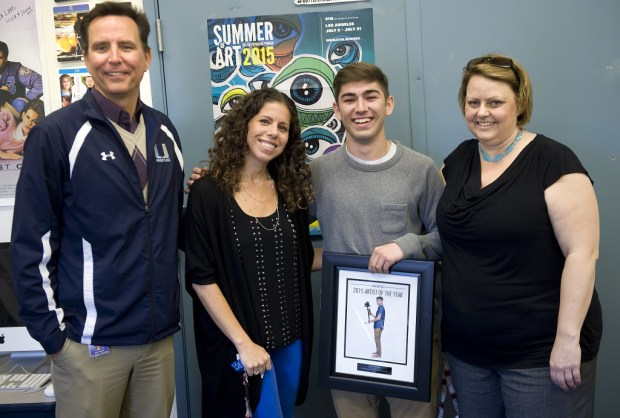 Hali Kessler, second from left, teaches film and video production at University High School. (Photo by Nick Agro, Orange County Register/SCNG)