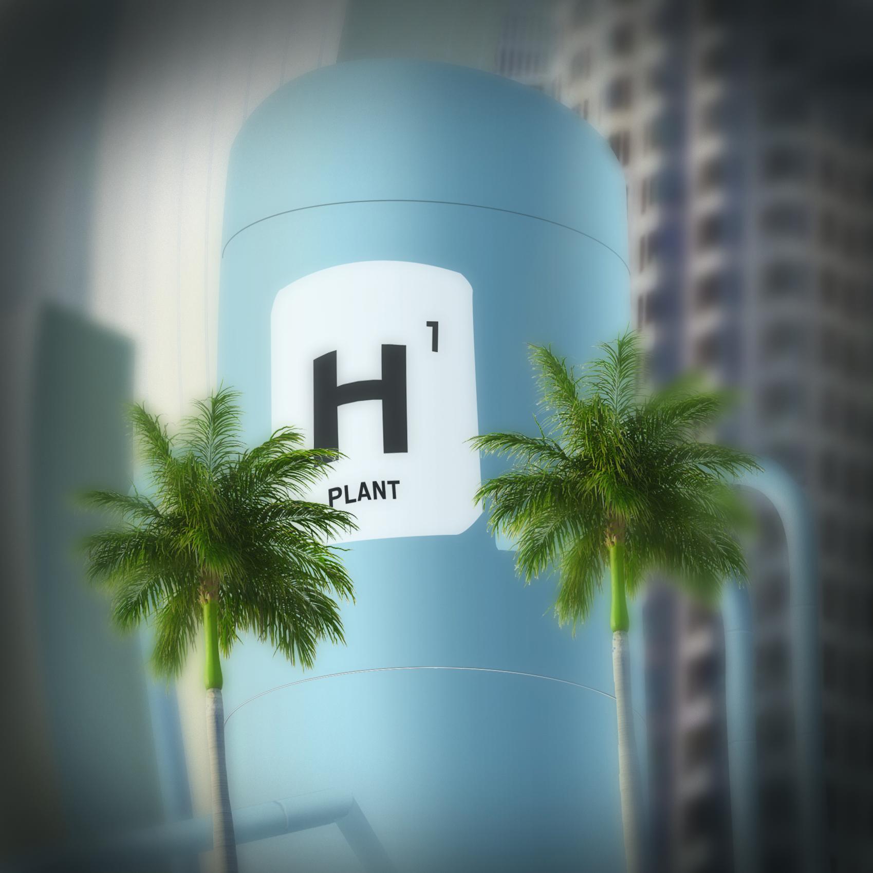 hydrogen tower in city