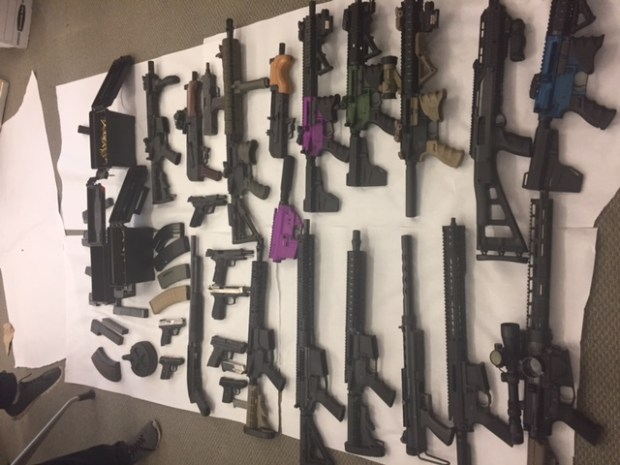 Guns seized Thursday in Hawthorne police gang raids. Photo courtesy Hawthorne Police Department