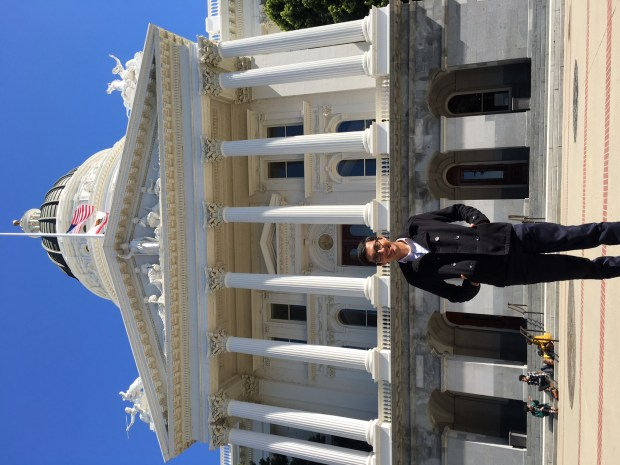 UCLA student Eduardo Solis in Sacramento in March after speaking to lawmakers about issues affecting UC students. (courtesy photo)