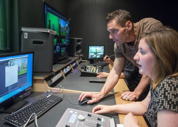 Jim Falletta, left, teaches film at Troy High School. (Photo by Leonard Ortiz, Orange County Register/SCNG)