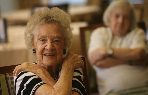 """Margaret """"Midge"""" Davenport, 85, stretches along with other seniors during a morning """"Fitness Roundup"""" class at Welbrook Arlington senior community in Riverside on Wednesday, Oct. 1, 2014. (File photo)"""