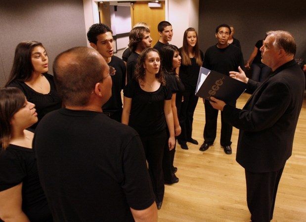 Michael Short, right, teaches choir at Orange High School. (Photo by Joshua Sudock, Orange County Register/SCNG)