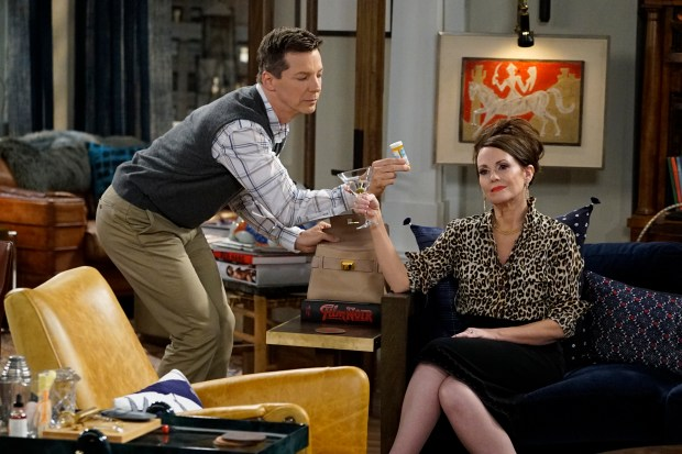 "Sean Hayes as Jack McFarland, Megan Mullally as Karen Walker in the new ""Will & Grace"" on NBC."