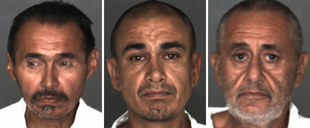 Murder suspects, from left, Lucas Jack Gonzalez, 56; Marty Kruger Olvera, 43; and Richard Yanez, 57, all from Redlands, were arrested in connection with the slaying of Kyle Aaron Williams, 31, a transient who frequented the Redlands area. Courtesy of Redlands Police Department