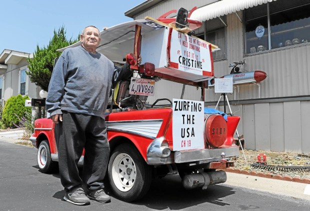George Bombardier, 71, poses with his golf cart, which he will use to drive to South Dakota next month, on Wednesday, May 27, 2015 in Rialto, Ca. (File photo by Micah Escamilla/The Sun-SCNG)