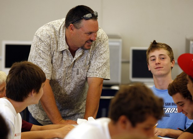 Scott Wittkop teaches multimedia production at Laguna Beach High School. (Photo by Sam Gangwer, Orange County Register)