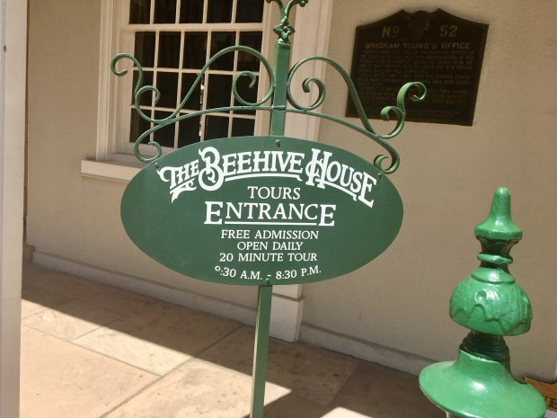 Entrance to the Beehive House in downtown Salt Lake City, the historic home of pioneer leader Brigham Young and one or more of his numerous wives. Credit: Marla Jo Fisher, Orange County Register