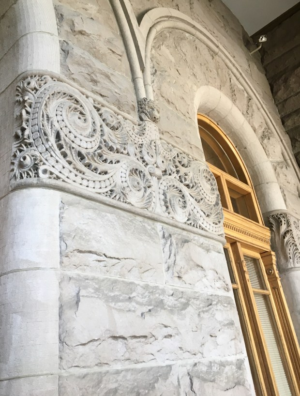 Detail of the sandstone exterior at the historic Salt Lake City and County Building, Utah. Credit: Marla Jo Fisher, Orange County Register