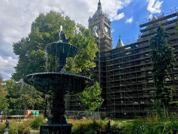 This copy of a Parisian fountain graces the park outside the Salt Lake City and County Building. Its sandstone exterior is undergoing renovation. Credit: Marla Jo Fisher, Orange County Register