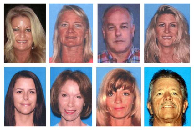 This photo combo shows the people who were killed during a shooting at a salon at Seal Beach, Calif., on Wednesday, Oct. 12, 2011. On the top row, from left, are Michelle Fournier, Michelle Fast, David Caouette and Christy Lynn Wilson. On bottom row, from left are Laura Lee Elody, Lucia Bernice Kondas, Victoria Ann Buzzo and Randy Lee Fannin. (AP Photo)