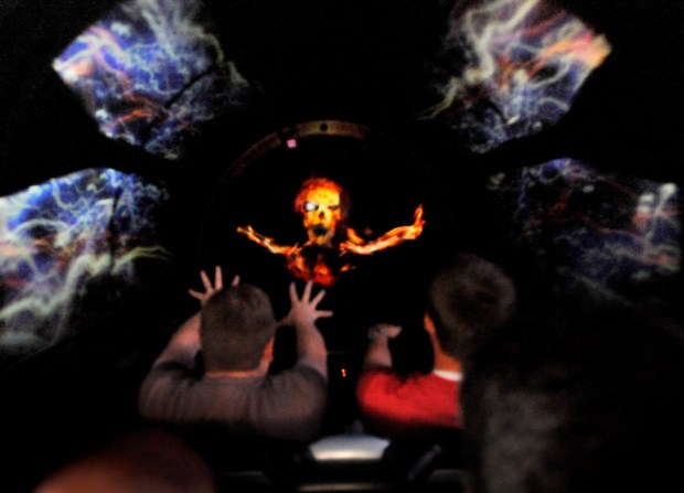 File Photo: Space Mountain riders encounter the first ghost on the new Ghost Galaxy roller coaster at Disneyland. (Staff photo by Joshua Sudock)