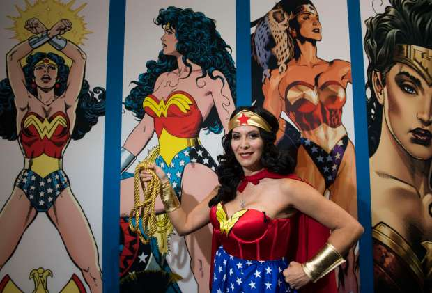 Gloria Gold, 48, of San Diego, is a fan of the old school Wonder Woman from 1975, seen here during day two of Comic-Con International at the San Diego Convention Center in San Diego, CA on Friday, July 21, 2017. (Photo by Kevin Sullivan, Orange County Register/SCNG)