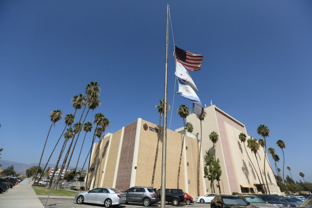 The flags outside the San Bernardino County Department of Public Health building and the Accessor's Office has been lowered to half staff for the victims of the Las Vegas mass shooting on Monday, Oct. 1, 2017. Dana Gardner, a deputy recorder for the San Bernardino County Assessor/Recorder/County Clerk's Office, was among those killed during Sunday nights mass shooting at the Route 91 Harvest Festival in Las Vegas.(Stan Lim, San Bernardino Sun/SCNG)