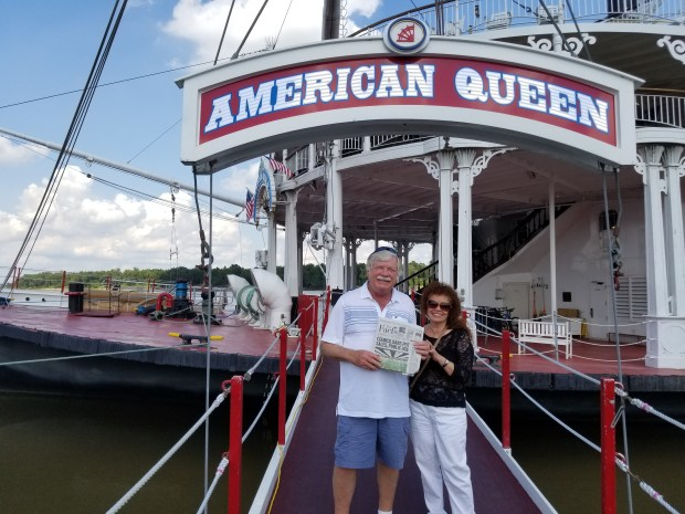 Wayne Johnson and Jeri Dunithan with the steamboat American Queen (Courtesy Photo)