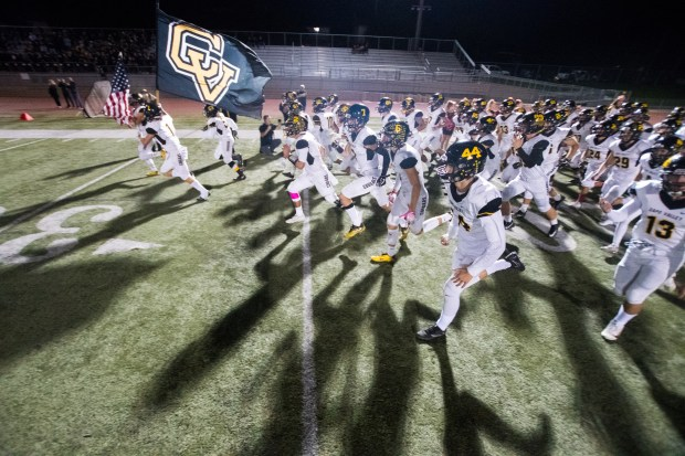 Capistrano Valley's team takes the field before a Sea View League game against El Toro at El Toro High School on Friday, October 13, 2017 in Lake Forest, Calif. (Photo by Josh Barber, Contributing Photographer)