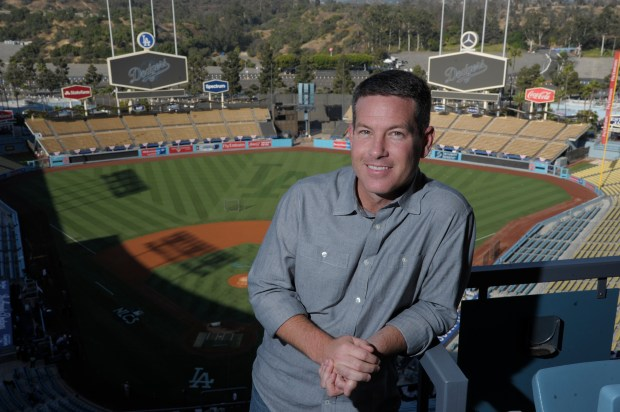 Brian Anderson is the TBS play-by-play man calling the Dodgers' games through the NLDS and NLCS. He was once calling games for the Dodgers' San Antonio farm team and credits Vin Scully with getting him in the broadcasting business. He also helped Joe Davis get the job as Scully's successor with the Dodgers' SportsNet LA channel. Los Angeles, CA 10/13/2017 (Photo by John McCoy, Los Angeles Daily News/SCNG)