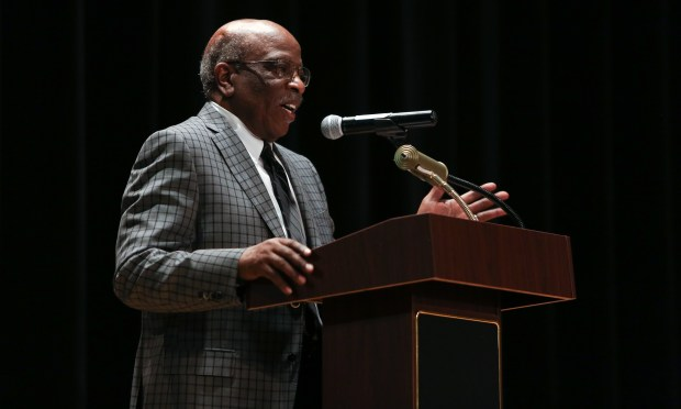 The guest of honor Lee. A Mitchell, Jr. speaks during the plaque dedication ceremony. The Norwalk-La Mirada Unified School District dedicates a plaque to Lee Mitchell, a retired band director and the first African-American teacher in the district on Saturday, Oct. 14, 2017. (Photo by Shilah Montiel for SCNG)
