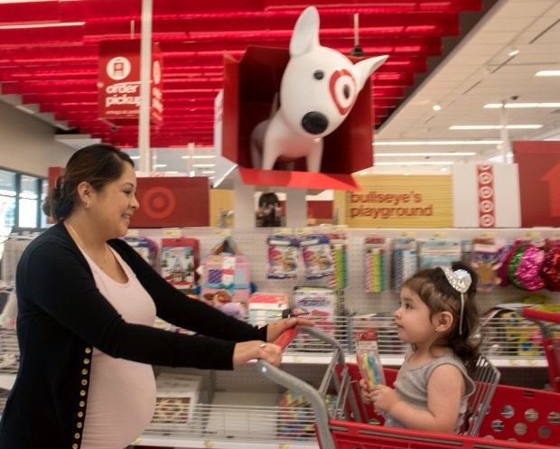 Bernice Sanchez shops with daughter Autumn, 1, at the New Target in Orange on Wednesday, October 18, 2017.(Photo by Mindy Schauer, Orange County Register/SCNG)