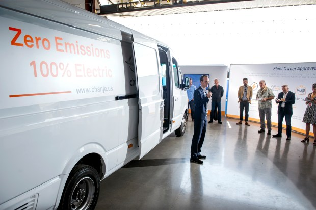 Chris Nordh (cq) of Ryder, a truck leasing company, speaks during a press conference unveiling a line of electric trucks from the Los Angeles based Chanje company at warehouse/hangar at Fullerton Municipal Airport October 18, 2017. The delivery vehicles were designed with permanent magnet motors from scratch, not based on any other truck. (Photo by Leo Jarzomb, SGV Tribune/ SCNG)
