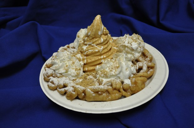 Fright Fest introduces a funnel cake for pumpkin pie lovers. (Courtesy of Six Flags Magic Mountain)