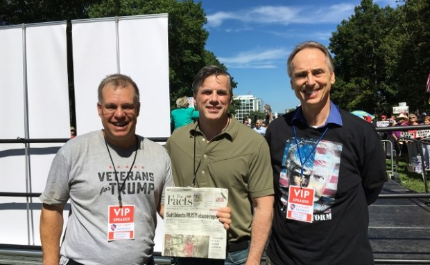 In Washington, D.C., are John Berry, left, and Greg Brittain, right, both of the Redlands Tea Party Patriots, with Tom Fitton, center, president of Judicial Watch. (Courtesy Photo)