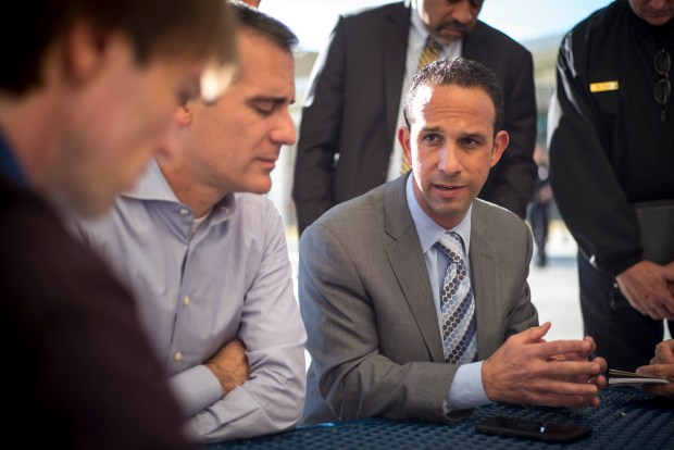 Los Angeles Mayor Eric Garretti and LA City Councilman Mitch Englander talk to the media at Porter Ranch Community School Wednesday, December 2, 2015. (File photo by David Crane, Los Angeles Daily News/SCNG)