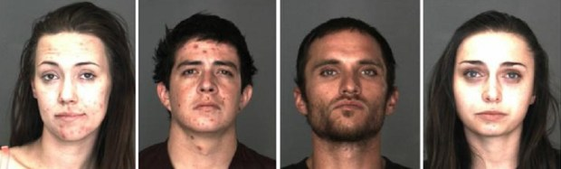 From left to right: Misty Laur, 19, of Yucaipa was arrested on suspicion of operating a drug house; Cameron Hill, 28, a Yucaipa transient, was arrested for probation violation; Trevor Ponce, 25, a Victorville transient, was arrested on suspicion of possession of a controlled substance and Ariel Mcgrew, 24, of Cherry Valley was arrested on suspicion of possession of narcotics paraphernalia. (Photos courtesy of the San Bernardino County Sheriff's Department)