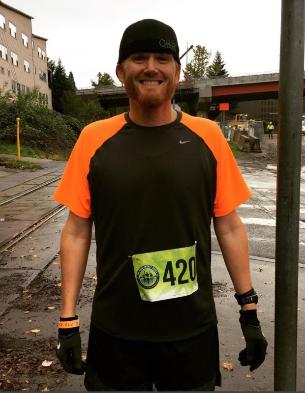 Tyler Hurst during the 420 Games in Portland in 2016. Hurst incorporates cannabis into his running routine. (Courtesy of Tyler Hurst)